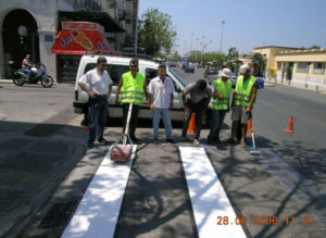 Prefabricated pedestrian bands for urban roads